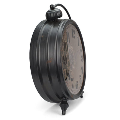 Victory Gertrude Metal Rotating Gears Desk Clock Black 47cm TCM 15 2