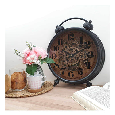 Victory Gertrude Metal Rotating Gears Desk Clock Black 47cm TCM 15 6