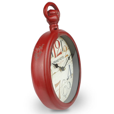 Victory Grand Hotel FOB Watch Distressed Metal Wall Clock Deep Red 28cm CHH 234 4