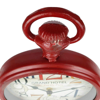Victory Grand Hotel FOB Watch Distressed Metal Wall Clock Deep Red 28cm CHH 234 6
