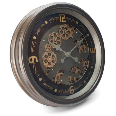 Victory Hermes Metal Moving Gears Wall Clock Gun Metal Brown 53cm CCM 1700 1