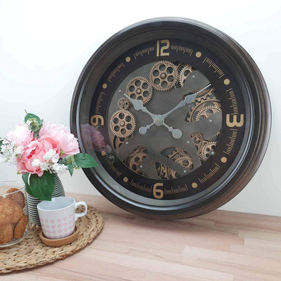 Victory Hermes Metal Moving Gears Wall Clock Gun Metal Brown 53cm CCM 1700 2