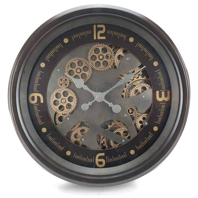 Victory Hermes Metal Moving Gears Wall Clock Gun Metal Brown 53cm CCM 1700 3