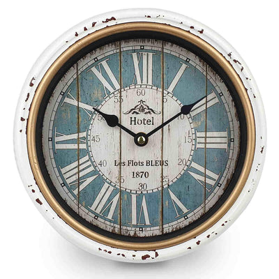 Victory Hotel Classic Distressed Metal Wall Clock White 25cm CHH 227 3