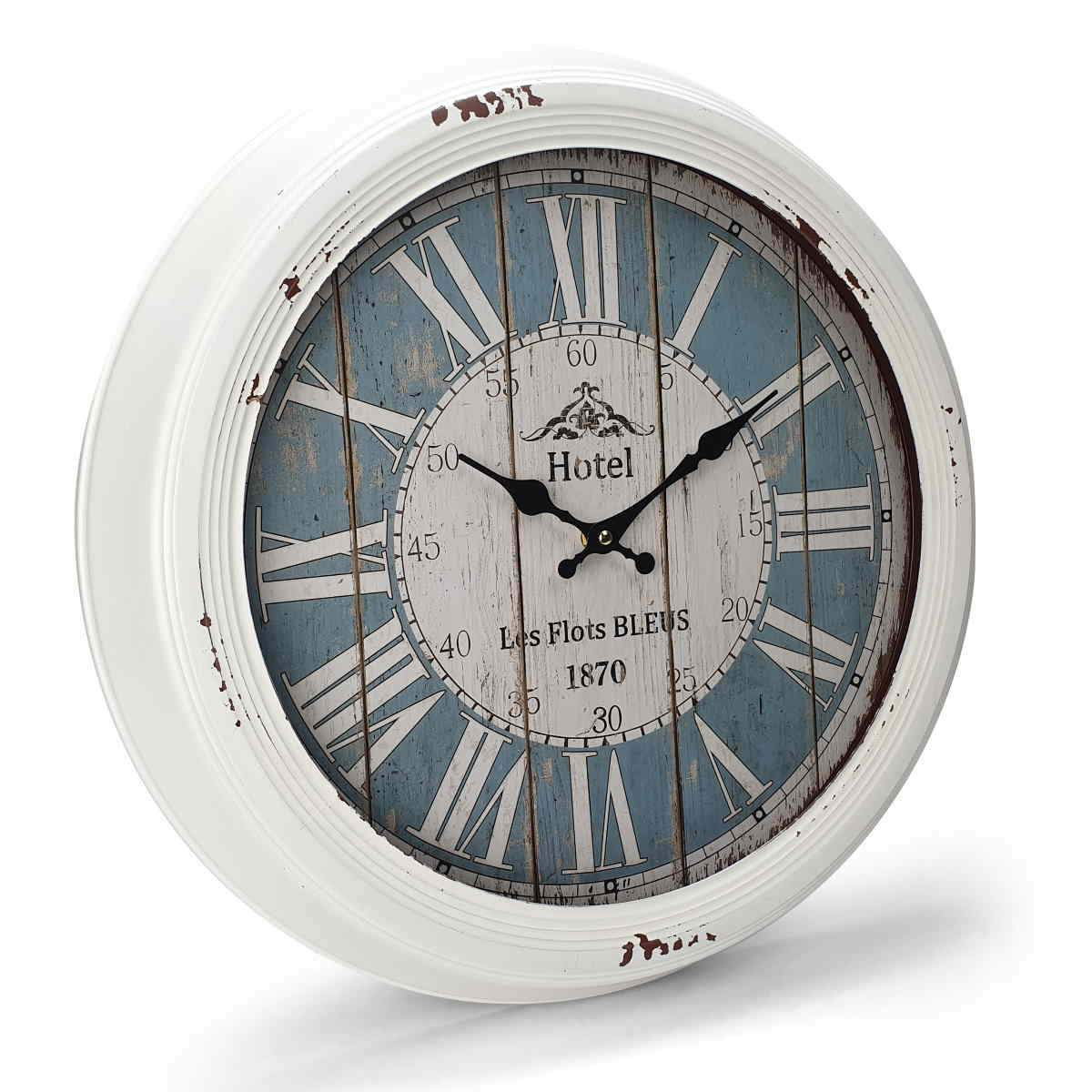 Victory Hotel Les Flots Bleus Vintage Metal Wall Clock White 47cm CHH 553 1