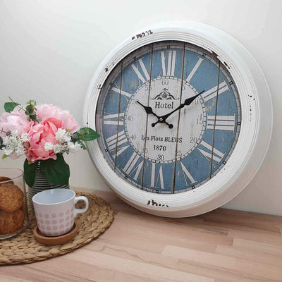 Victory Hotel Les Flots Bleus Vintage Metal Wall Clock White 47cm CHH 553 2