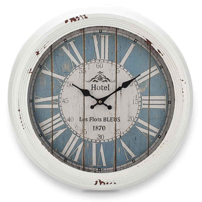 Victory Hotel Les Flots Bleus Vintage Metal Wall Clock White 47cm CHH 553 3