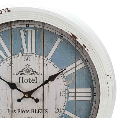 Victory Hotel Les Flots Bleus Vintage Metal Wall Clock White 47cm CHH 553 4