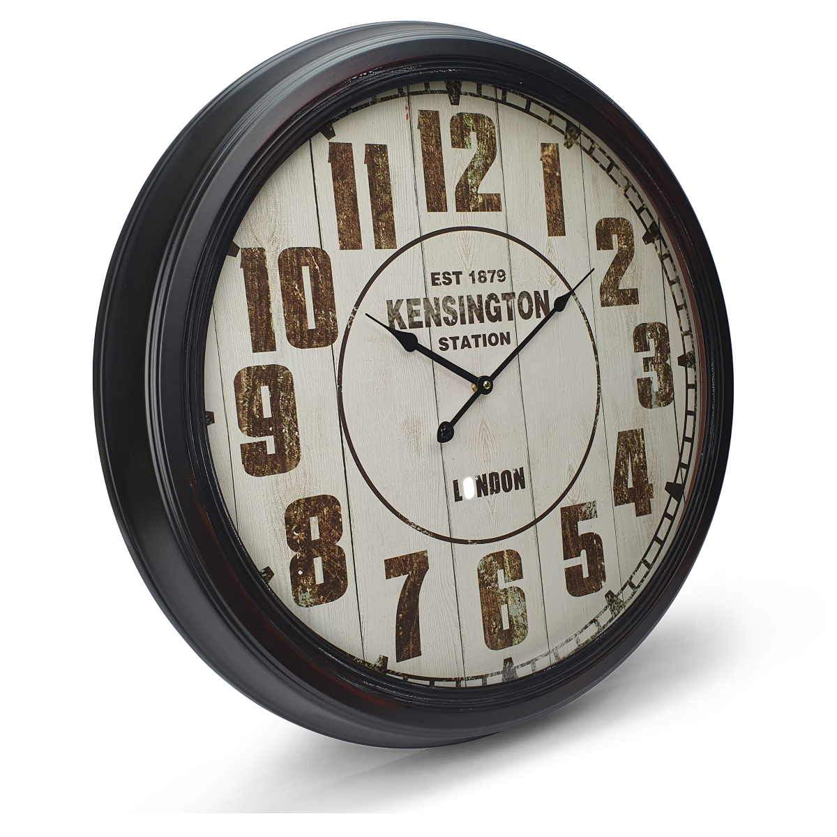 Victory Kensington Station Extra Large Vintage Metal Wall Clock Black 62cm CHH 333 1