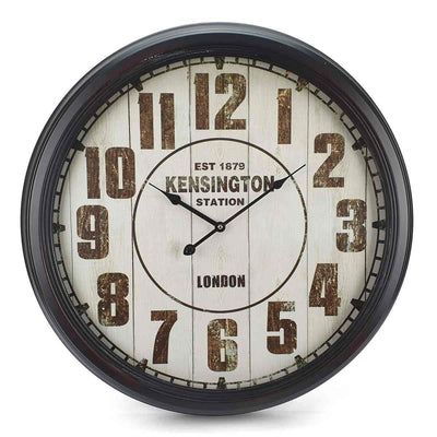 Victory Kensington Station Extra Large Vintage Metal Wall Clock Black 62cm CHH 333 7