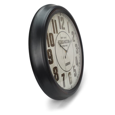 Victory Kensington Station Extra Large Vintage Metal Wall Clock Black 62cm CHH 333 2
