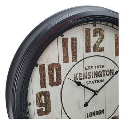 Victory Kensington Station Extra Large Vintage Metal Wall Clock Black 62cm CHH 333 3