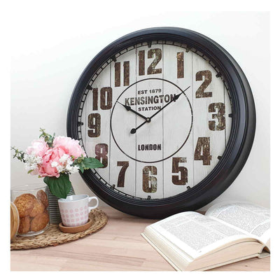 Victory Kensington Station Extra Large Vintage Metal Wall Clock Black 62cm CHH 333 6
