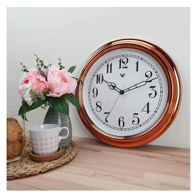Victory Kinslee Shiny Frame Wall Clock Copper 38cm CCL 458 COP 7