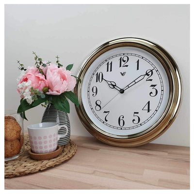 Victory Kinslee Shiny Frame Wall Clock Gold 38cm CCL 458 GOL 6