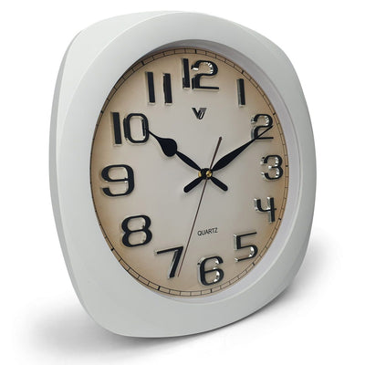 Victory Kolten 3D Number Squarish Wall Clock White 38cm CCJ 2535W 1