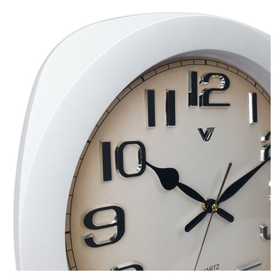 Victory Kolten 3D Number Squarish Wall Clock White 38cm CCJ 2535W 3