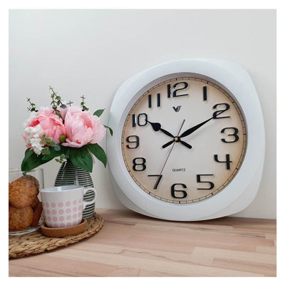 Victory Kolten 3D Number Squarish Wall Clock White 38cm CCJ 2535W 6