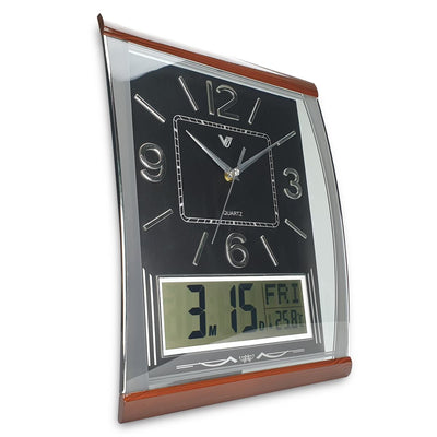 Victory Marlee Analogue with Digital Calendar Temp Wall Clock Black 37cm CBL 1053 BLA 1