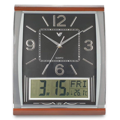 Victory Marlee Analogue with Digital Calendar Temp Wall Clock Black 37cm CBL 1053 BLA 7