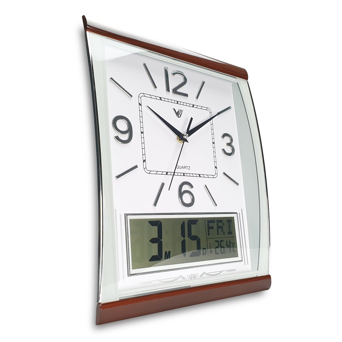Victory Marlee Analogue with Digital Calendar Temp Wall Clock White 37cm CBL 1053 WHI 1