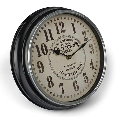 Victory Old Town Classic Metal Wall Clock Black 31cm CHH 632 1