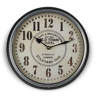 Victory Old Town Classic Metal Wall Clock Black 31cm CHH 632 4