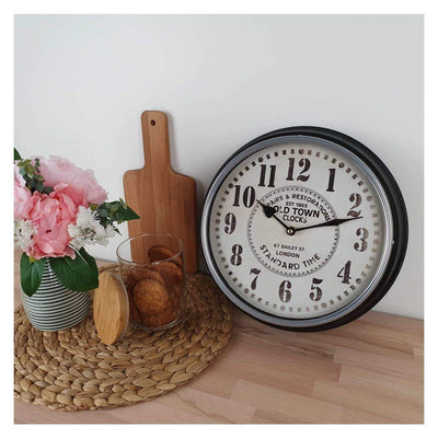 Victory Old Town Classic Metal Wall Clock Black 31cm CHH 632 3