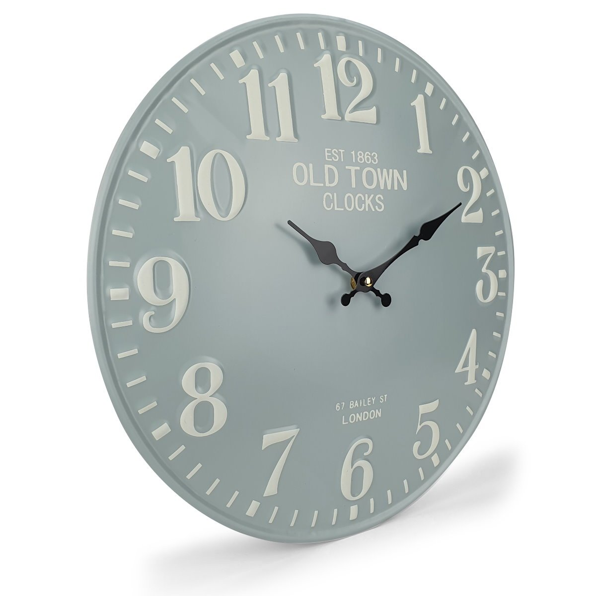 Victory Old Town Embossed Numbers Domed Metal Wall Clock Blue Grey 40cm CHH 688G 1