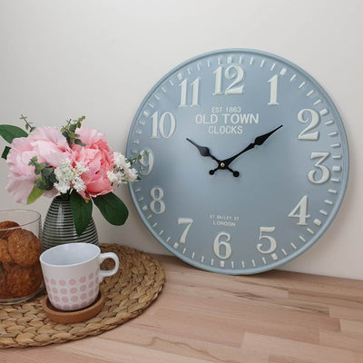 Victory Old Town Embossed Numbers Domed Metal Wall Clock Blue Grey 40cm CHH 688G 2