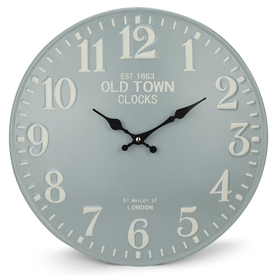 Victory Old Town Embossed Numbers Domed Metal Wall Clock Blue Grey 40cm CHH 688G 3