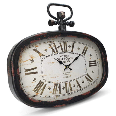 Victory Old Town Vintage Oval Metal FOB Watch Wall Clock Black 45cm CHH 201 1
