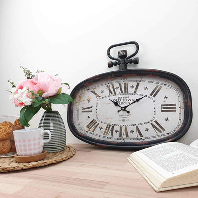 Victory Old Town Vintage Oval Metal FOB Watch Wall Clock Black 45cm CHH 201 2