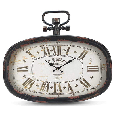 Victory Old Town Vintage Oval Metal FOB Watch Wall Clock Black 45cm CHH 201 3