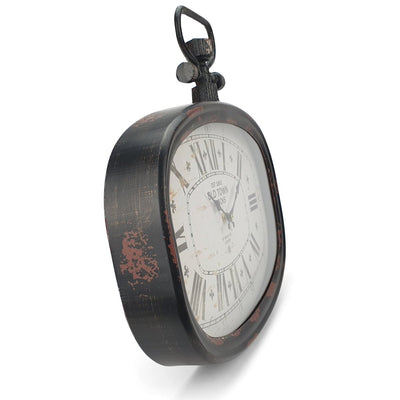Victory Old Town Vintage Oval Metal FOB Watch Wall Clock Black 45cm CHH 201 4
