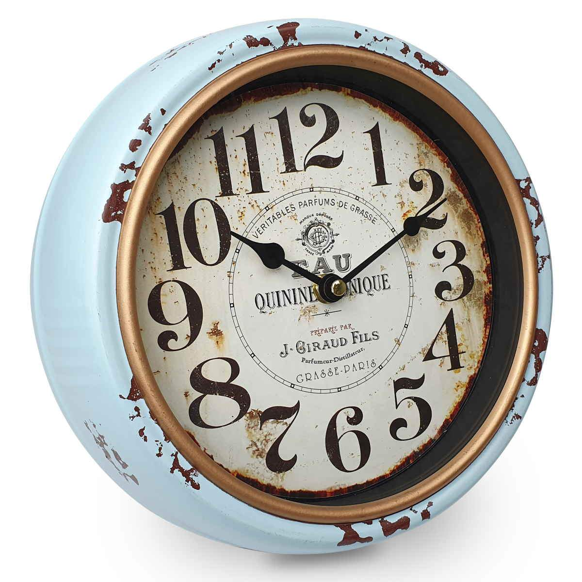 Victory Quinine Tonique Classic Distressed Metal Wall Clock Light Blue 25cm CHH 228 1