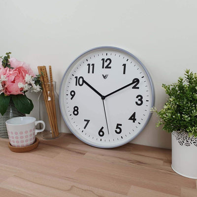 Victory Rachelle Wall Clock Light Blue Grey 30cm CCL 1558 BLU 2