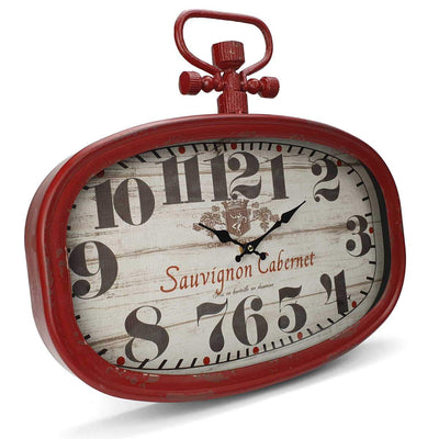 Victory Sauvignon Cabernet Vintage Oval FOB Watch Wall Clock Deep Red 45cm CHH 203 1
