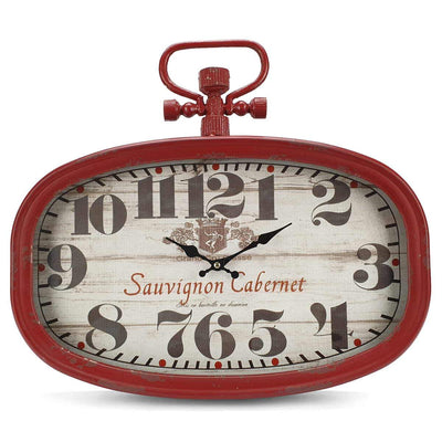Victory Sauvignon Cabernet Vintage Oval FOB Watch Wall Clock Deep Red 45cm CHH 203 3