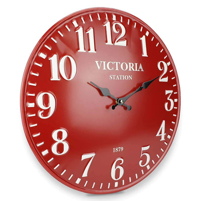Victory Victoria Station Embossed Numbers Domed Metal Wall Clock Red 40cm CHH 688R 1