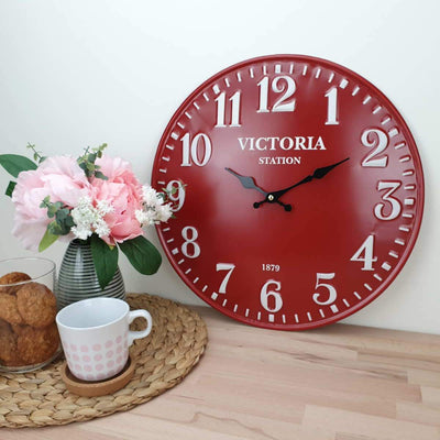 Victory Victoria Station Embossed Numbers Domed Metal Wall Clock Red 40cm CHH 688R 2