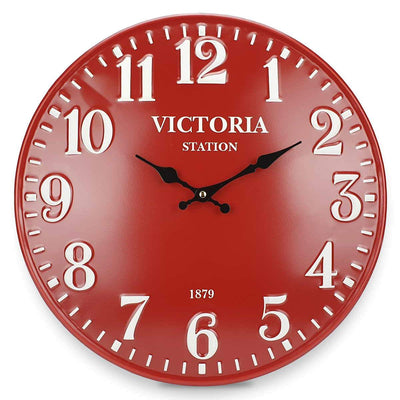 Victory Victoria Station Embossed Numbers Domed Metal Wall Clock Red 40cm CHH 688R 3