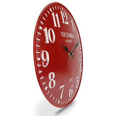 Victory Victoria Station Embossed Numbers Domed Metal Wall Clock Red 40cm CHH 688R 4