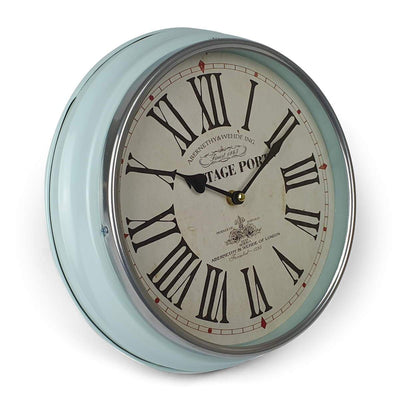Victory Vintage Port Classic Metal Wall Clock Light Blue 31cm CHH 631 1
