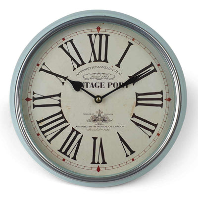 Victory Vintage Port Classic Metal Wall Clock Light Blue 31cm CHH 631 4