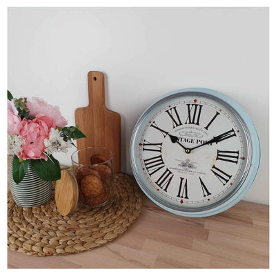 Victory Vintage Port Classic Metal Wall Clock Light Blue 31cm CHH 631 3