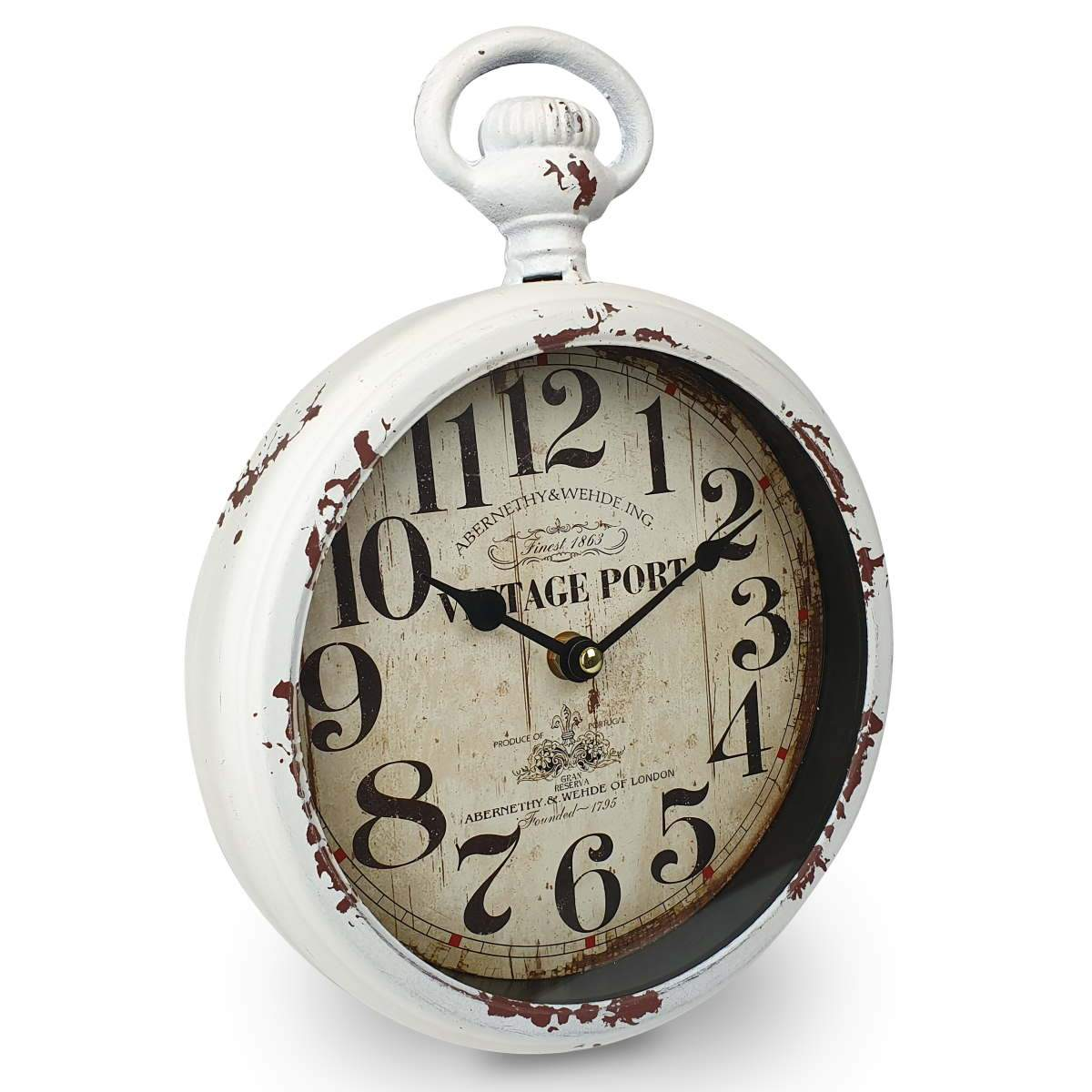 Victory Vintage Port FOB Watch Distressed Metal Wall Clock White 28cm CHH 233 1