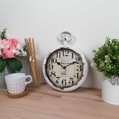 Victory Vintage Port FOB Watch Distressed Metal Wall Clock White 28cm CHH 233 2