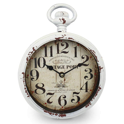 Victory Vintage Port FOB Watch Distressed Metal Wall Clock White 28cm CHH 233 3