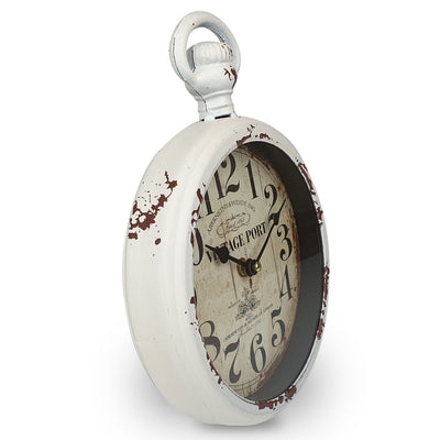 Victory Vintage Port FOB Watch Distressed Metal Wall Clock White 28cm CHH 233 4